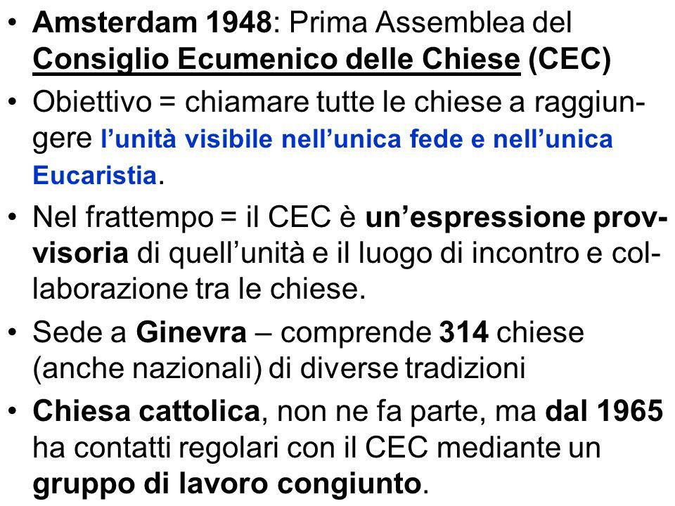 Amsterdam 1948: Prima Assemblea del Consiglio Ecumenico delle Chiese (CEC)