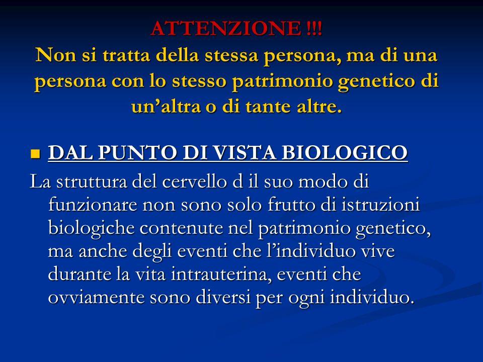 ATTENZIONE !!! Non si tratta della stessa persona, ma di una persona con lo stesso patrimonio genetico di un'altra o di tante altre.