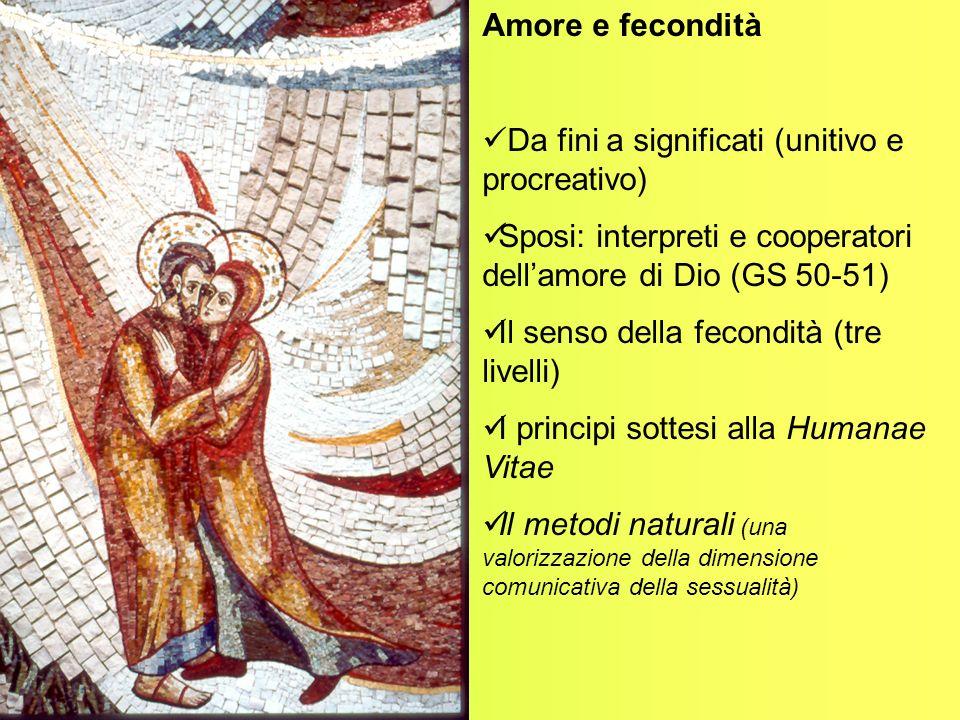 Amore e fecondità Da fini a significati (unitivo e procreativo) Sposi: interpreti e cooperatori dell'amore di Dio (GS 50-51)