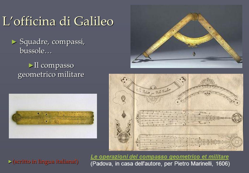 L'officina di Galileo Squadre, compassi, bussole…