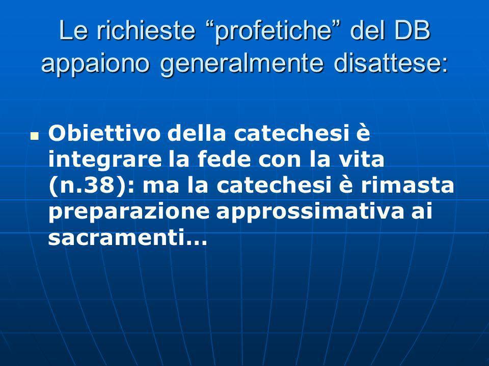Le richieste profetiche del DB appaiono generalmente disattese: