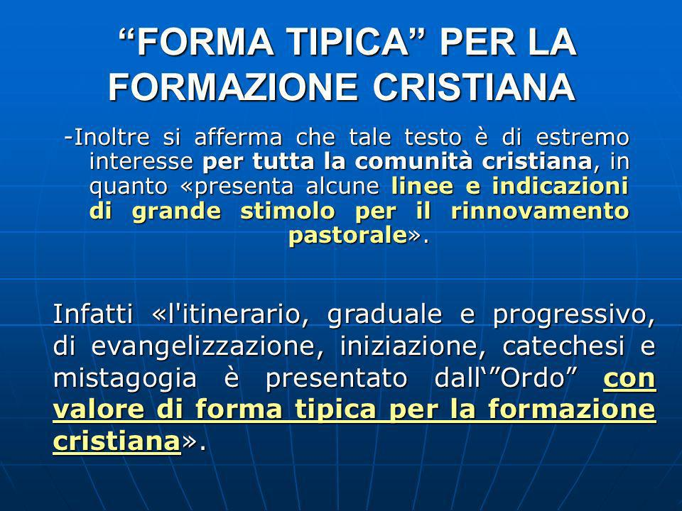 FORMA TIPICA PER LA FORMAZIONE CRISTIANA