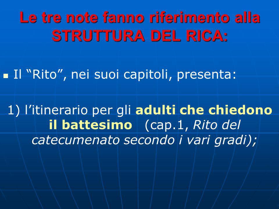 Le tre note fanno riferimento alla STRUTTURA DEL RICA: