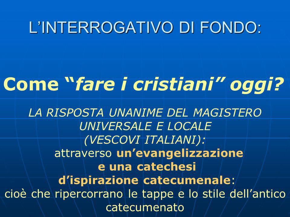 L'INTERROGATIVO DI FONDO: