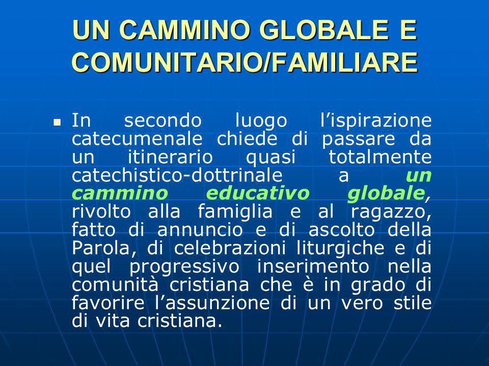 UN CAMMINO GLOBALE E COMUNITARIO/FAMILIARE