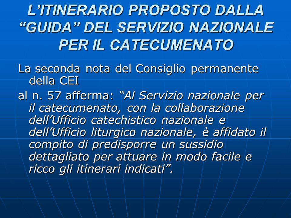 L'ITINERARIO PROPOSTO DALLA GUIDA DEL SERVIZIO NAZIONALE PER IL CATECUMENATO