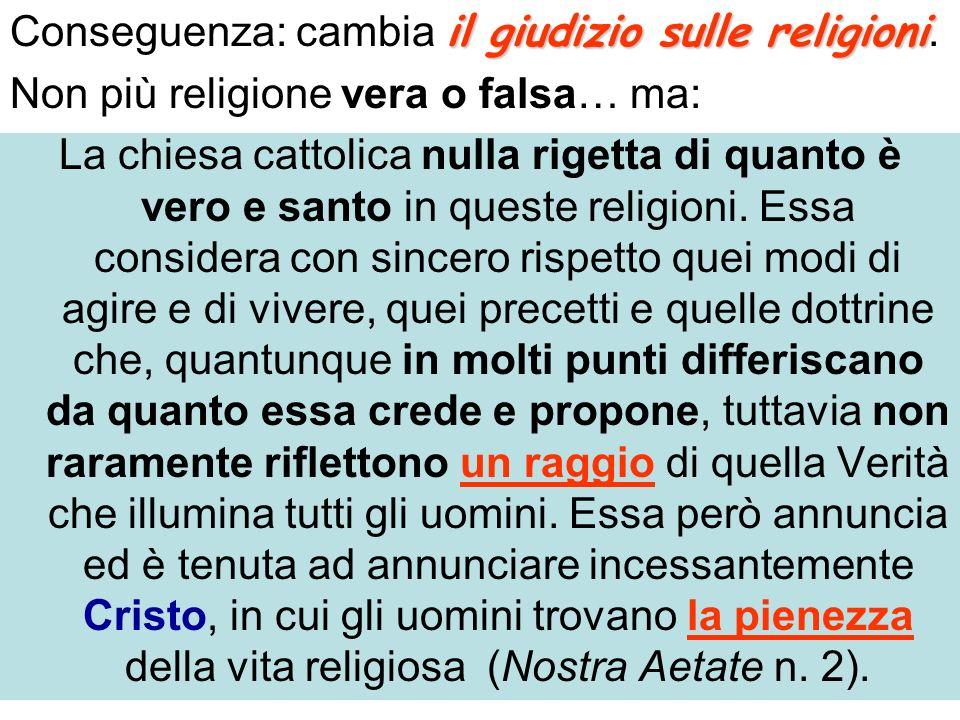 Conseguenza: cambia il giudizio sulle religioni.