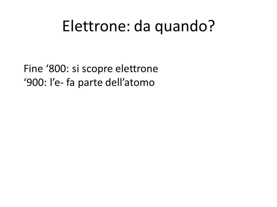Elettrone: da quando Fine '800: si scopre elettrone