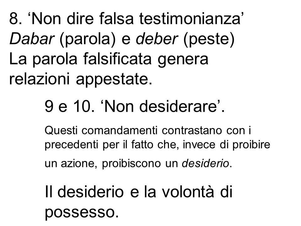 8. 'Non dire falsa testimonianza' Dabar (parola) e deber (peste)