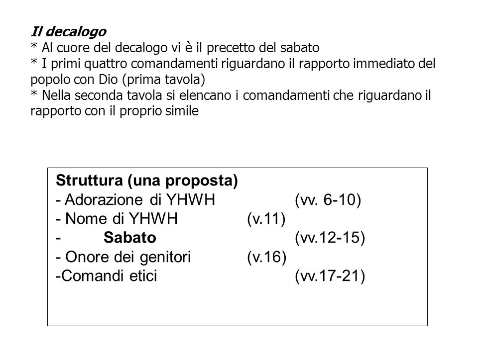 Struttura (una proposta) - Adorazione di YHWH (vv. 6-10)
