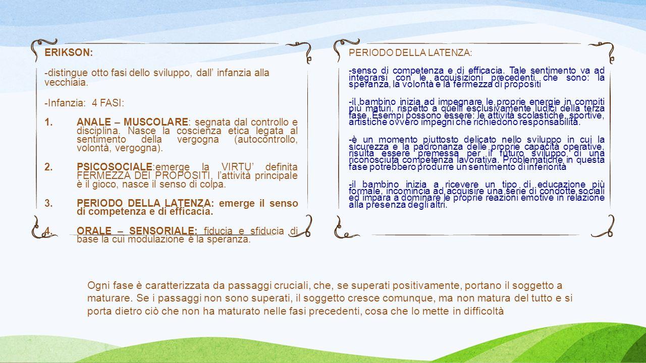 ERIKSON: distingue otto fasi dello sviluppo, dall' infanzia alla vecchiaia. Infanzia: 4 FASI: