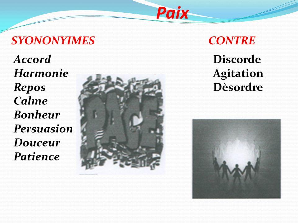 Paix SYONONYIMES CONTRE Accord Harmonie Repos Calme Bonheur Persuasion