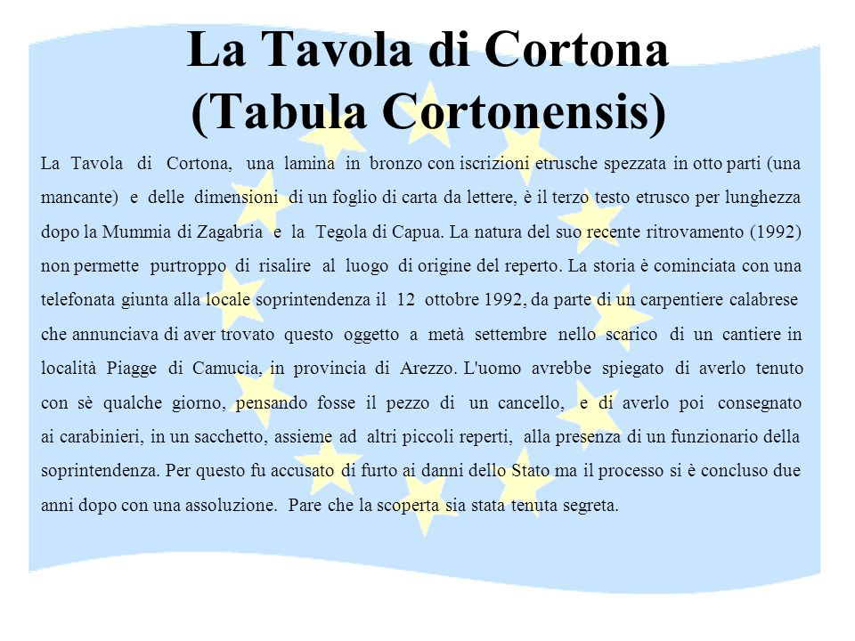 La Tavola di Cortona (Tabula Cortonensis)