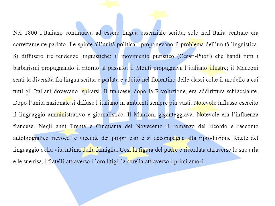 Nel 1800 l'Italiano continuava ad essere lingua essenziale scritta, solo nell'Italia centrale era correttamente parlato.