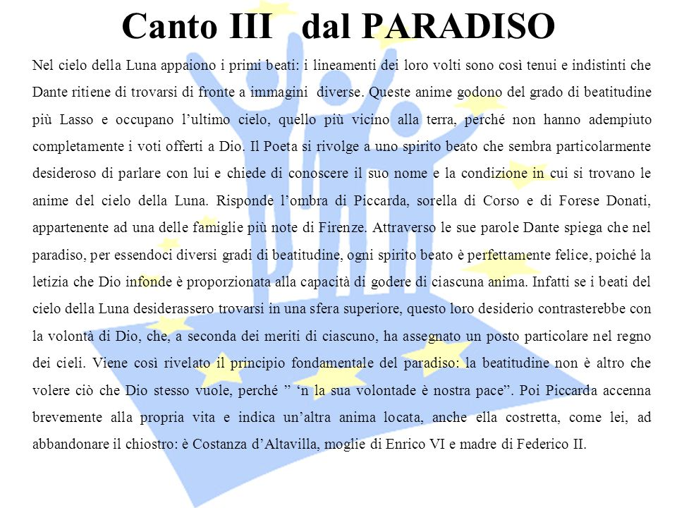 Canto III dal PARADISO