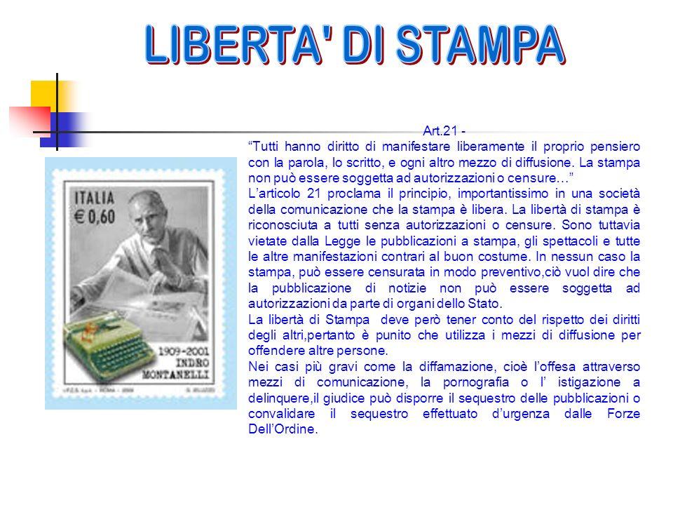 LIBERTA DI STAMPA Art.21 -