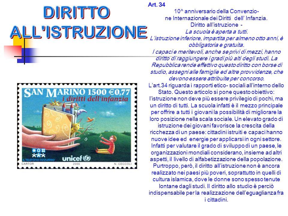 DIRITTO ALL ISTRUZIONE Art. 34 10^ anniversario della Convenzio-