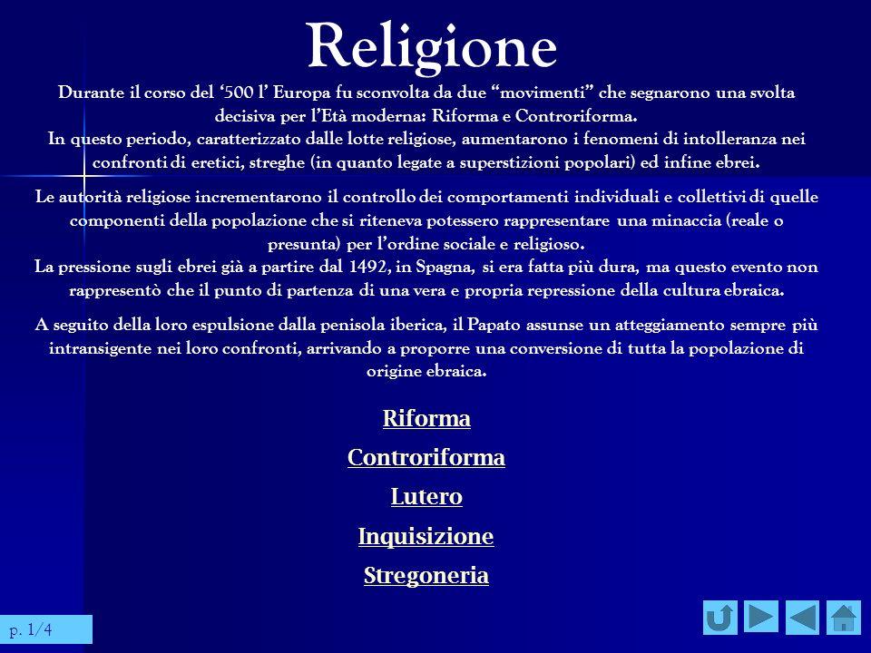 Religione Controriforma Lutero Inquisizione Stregoneria