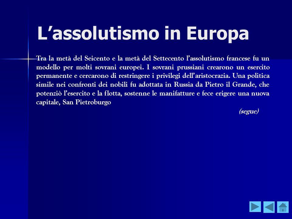 L'assolutismo in Europa