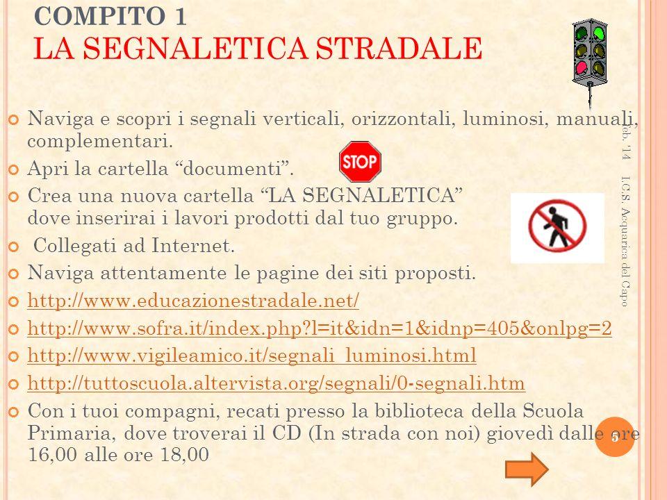 COMPITO 1 LA SEGNALETICA STRADALE
