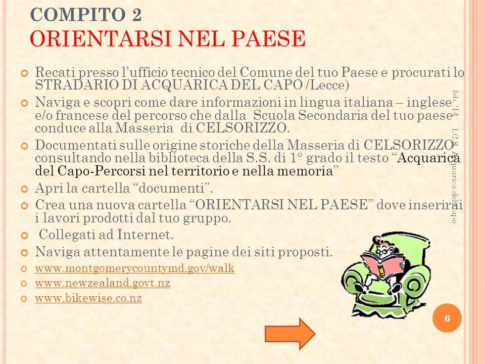 COMPITO 2 ORIENTARSI NEL PAESE