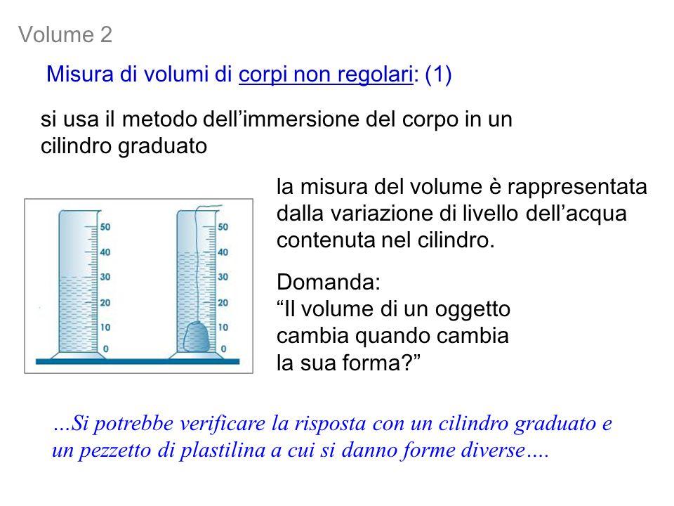Volume 2 Misura di volumi di corpi non regolari: (1) si usa il metodo dell'immersione del corpo in un cilindro graduato.