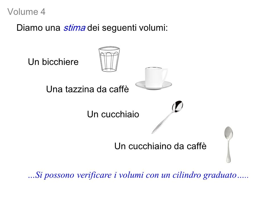 Volume 4 Diamo una stima dei seguenti volumi: Un bicchiere. Una tazzina da caffè. Un cucchiaio. Un cucchiaino da caffè.