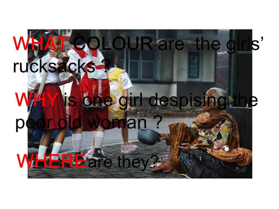 WHAT COLOUR are the girls' rucksacks