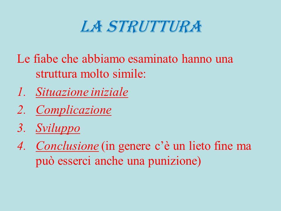 LA STRUTTURA Le fiabe che abbiamo esaminato hanno una struttura molto simile: Situazione iniziale.