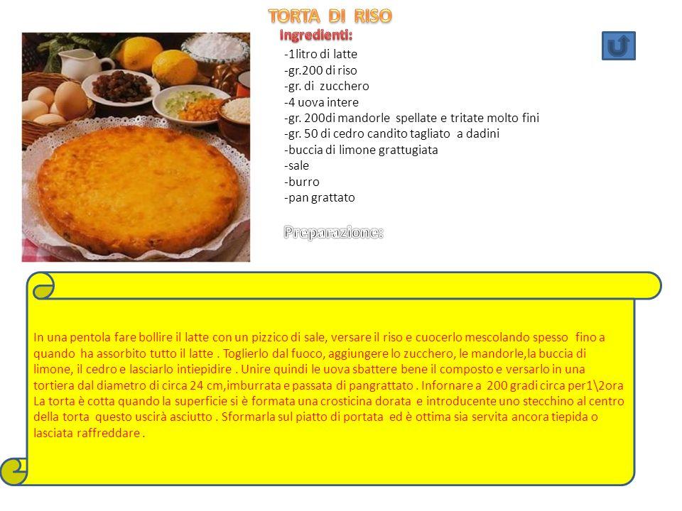 TORTA DI RISO Preparazione: Ingredienti: -1litro di latte