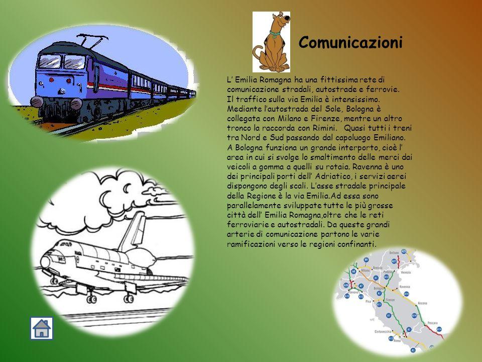 Comunicazioni L' Emilia Romagna ha una fittissima rete di comunicazione stradali, autostrade e ferrovie.