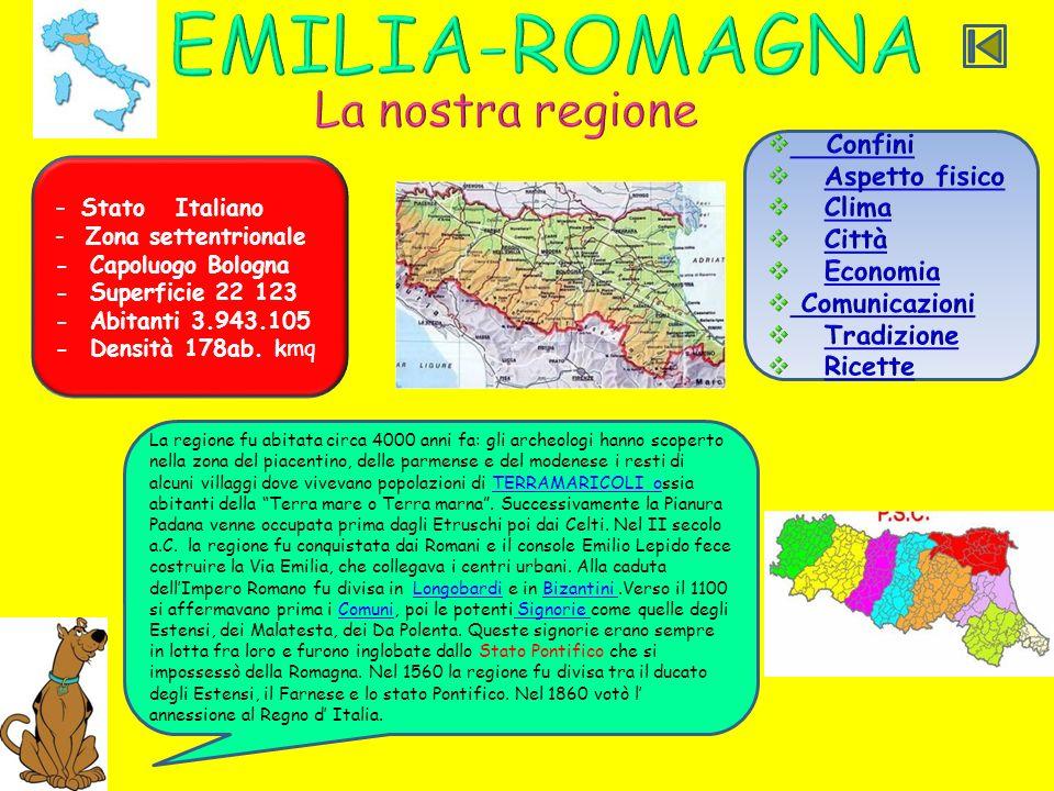 EMILIA-ROMAGNA La nostra regione Confini Aspetto fisico Clima