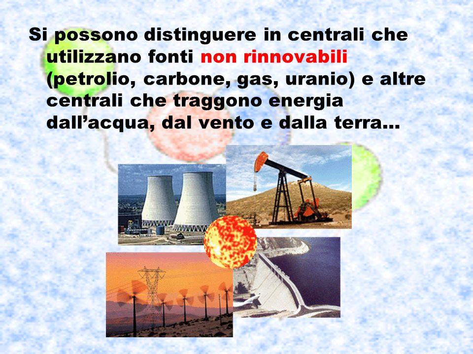 Si possono distinguere in centrali che utilizzano fonti non rinnovabili (petrolio, carbone, gas, uranio) e altre centrali che traggono energia dall'acqua, dal vento e dalla terra…