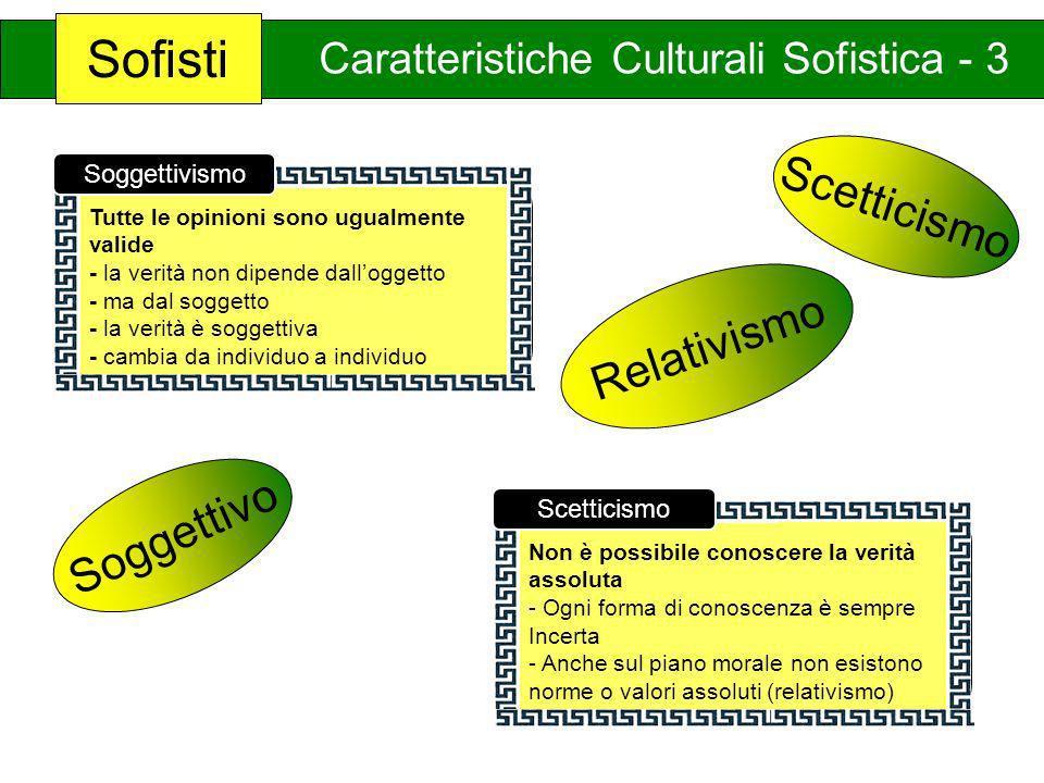 Sofisti Scetticismo Relativismo Soggettivo