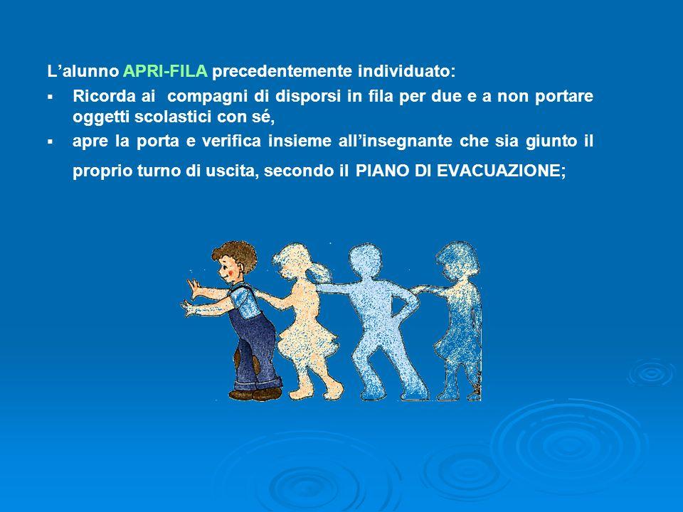 L'alunno APRI-FILA precedentemente individuato: