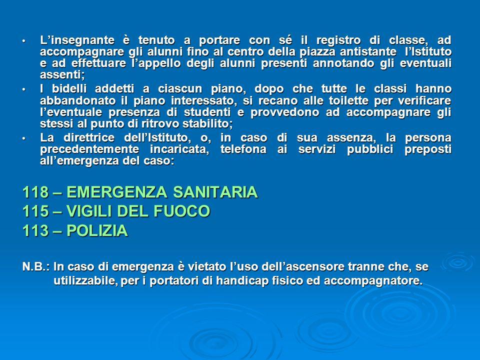 118 – EMERGENZA SANITARIA 115 – VIGILI DEL FUOCO 113 – POLIZIA