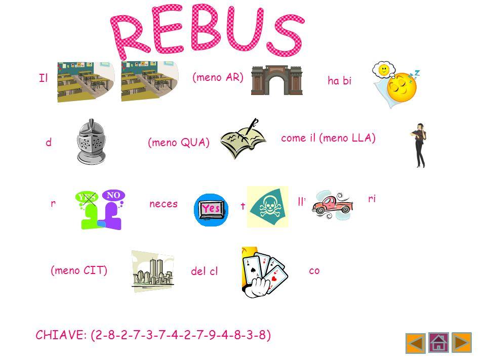 REBUS CHIAVE: (2-8-2-7-3-7-4-2-7-9-4-8-3-8) Il (meno AR) ha bi