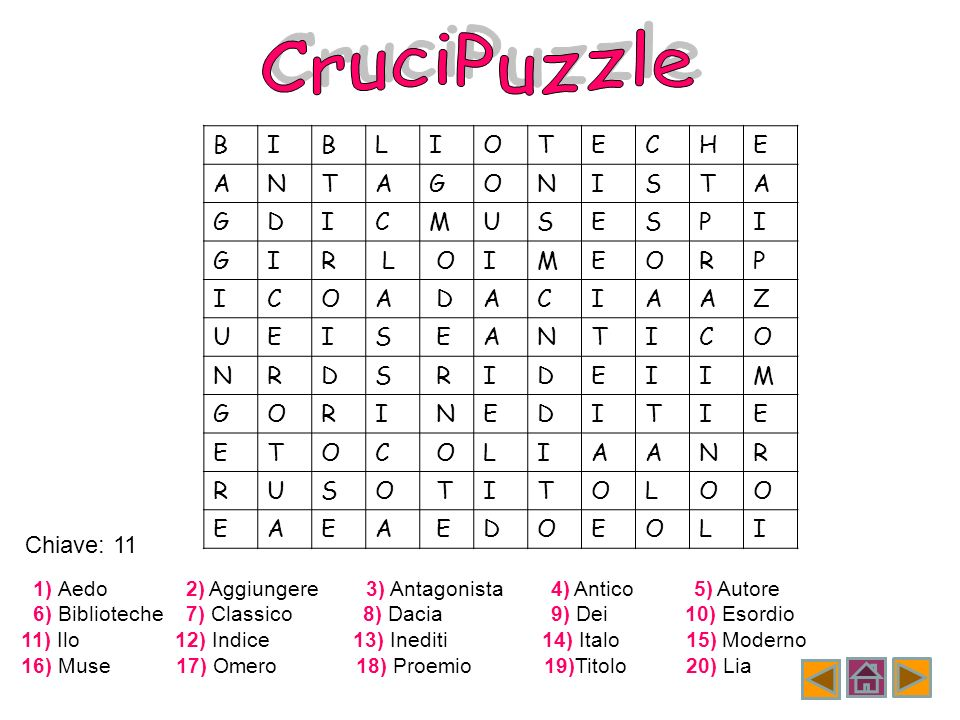 CruciPuzzle B I L O T E C H A N G S D M U P R Z Chiave: 11