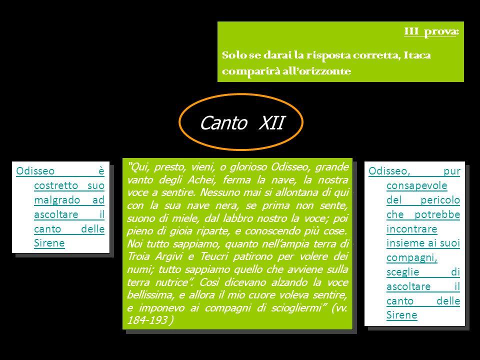 III prova: Solo se darai la risposta corretta, Itaca comparirà all'orizzonte. Canto XII.