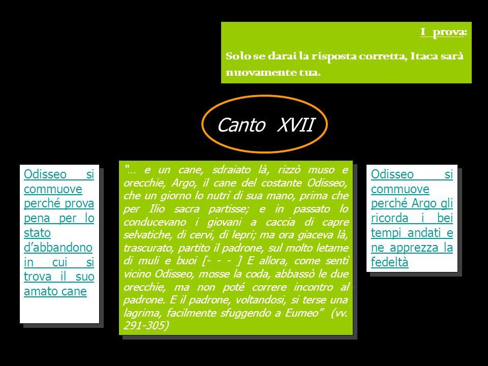 I prova:Solo se darai la risposta corretta, Itaca sarà nuovamente tua. Canto XVII.