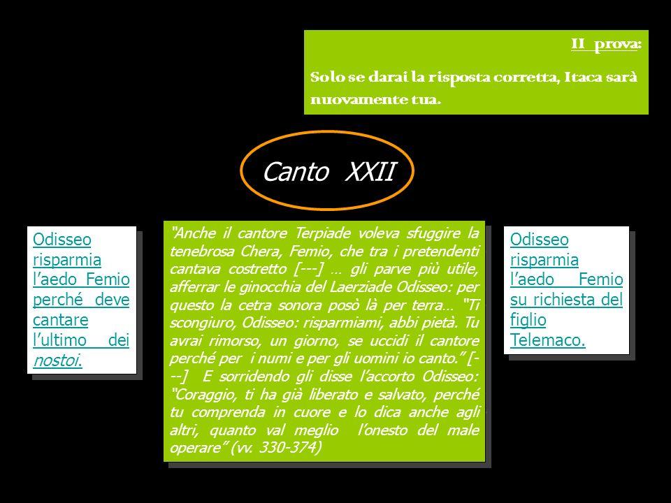 II prova: Solo se darai la risposta corretta, Itaca sarà nuovamente tua. Canto XXII.