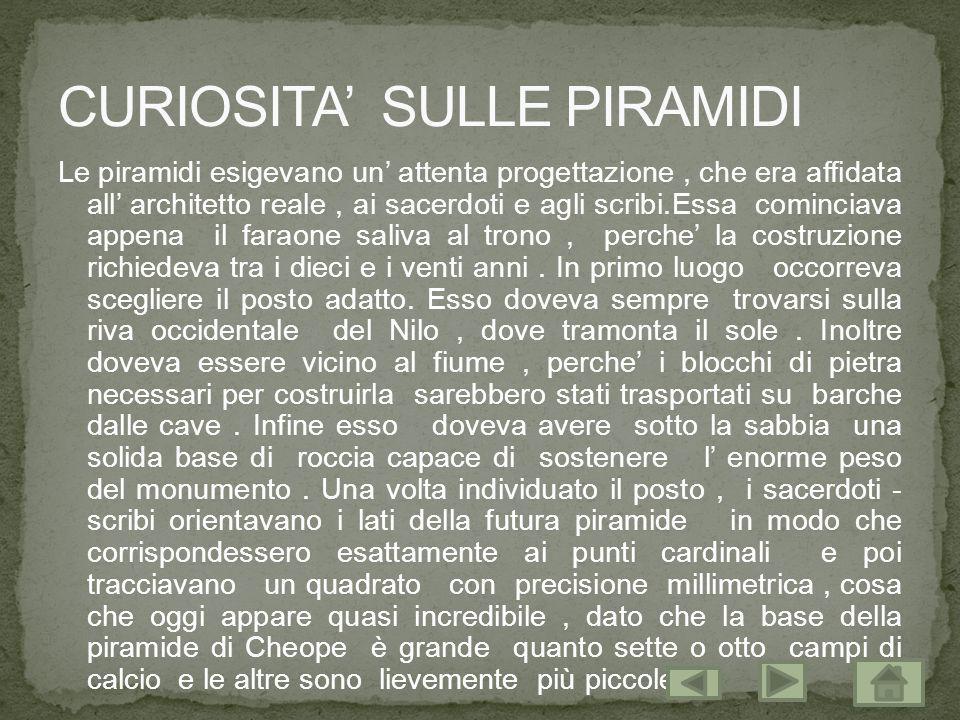 CURIOSITA' SULLE PIRAMIDI