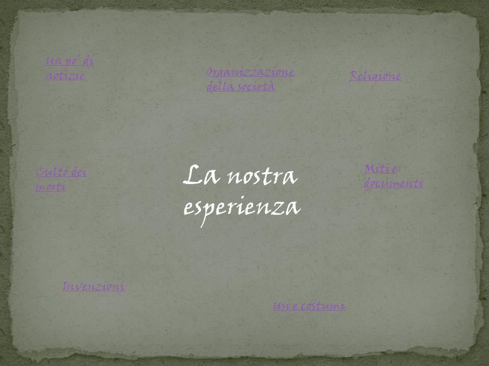 La nostra esperienza Un po' di notizie Organizzazione della società