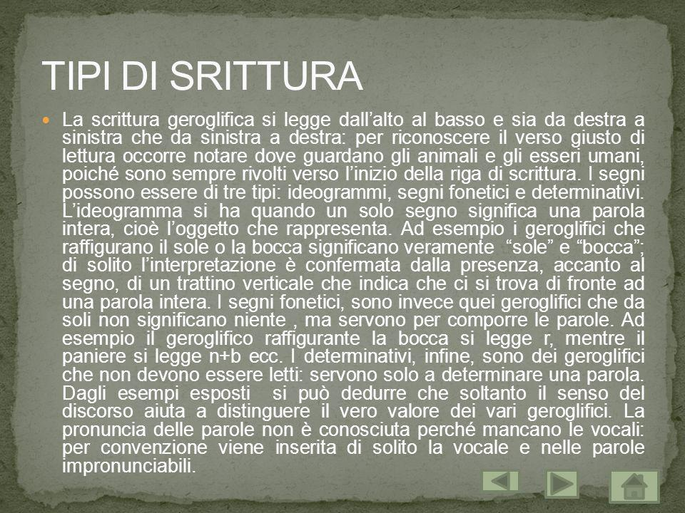 TIPI DI SRITTURA