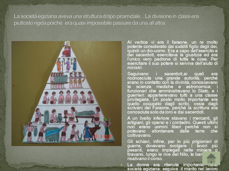 La società egiziana aveva una struttura di tipo piramidale