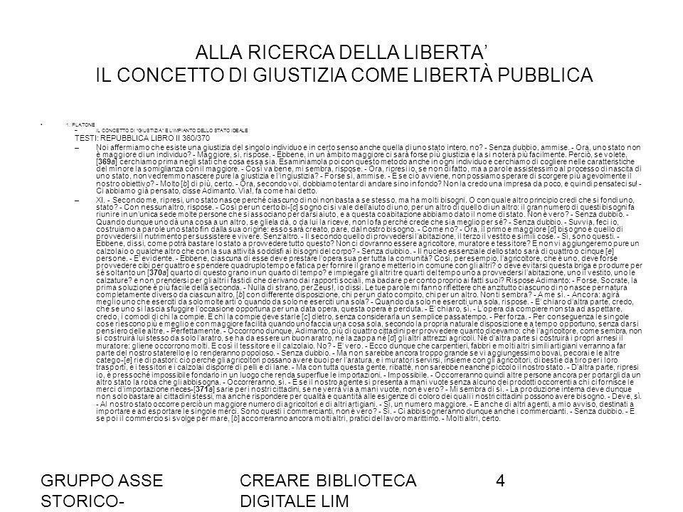 ALLA RICERCA DELLA LIBERTA' IL CONCETTO DI GIUSTIZIA COME LIBERTÀ PUBBLICA
