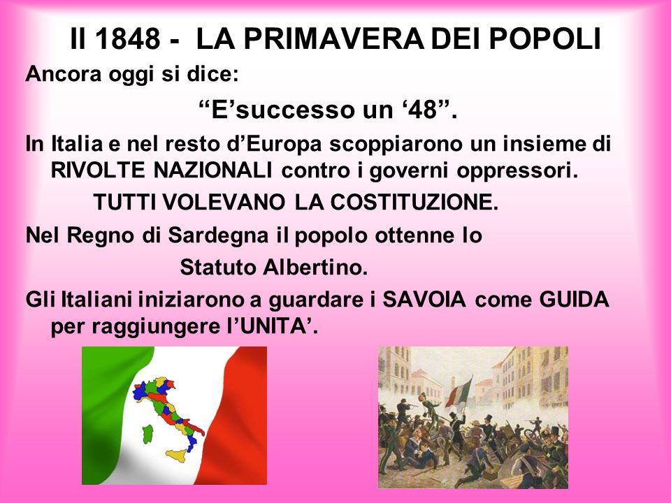 Il 1848 - LA PRIMAVERA DEI POPOLI