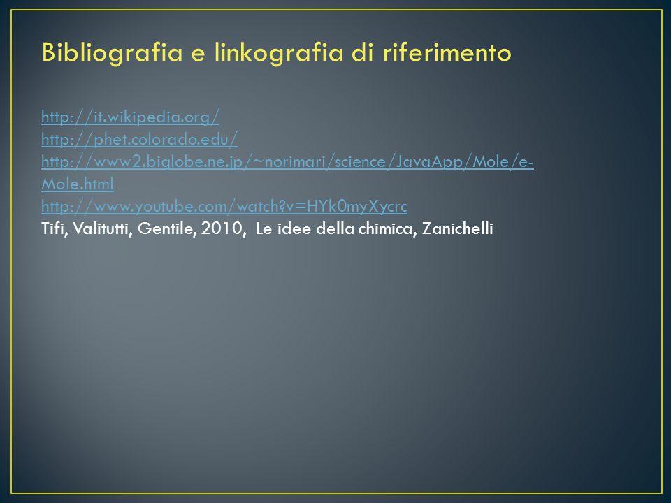 Bibliografia e linkografia di riferimento
