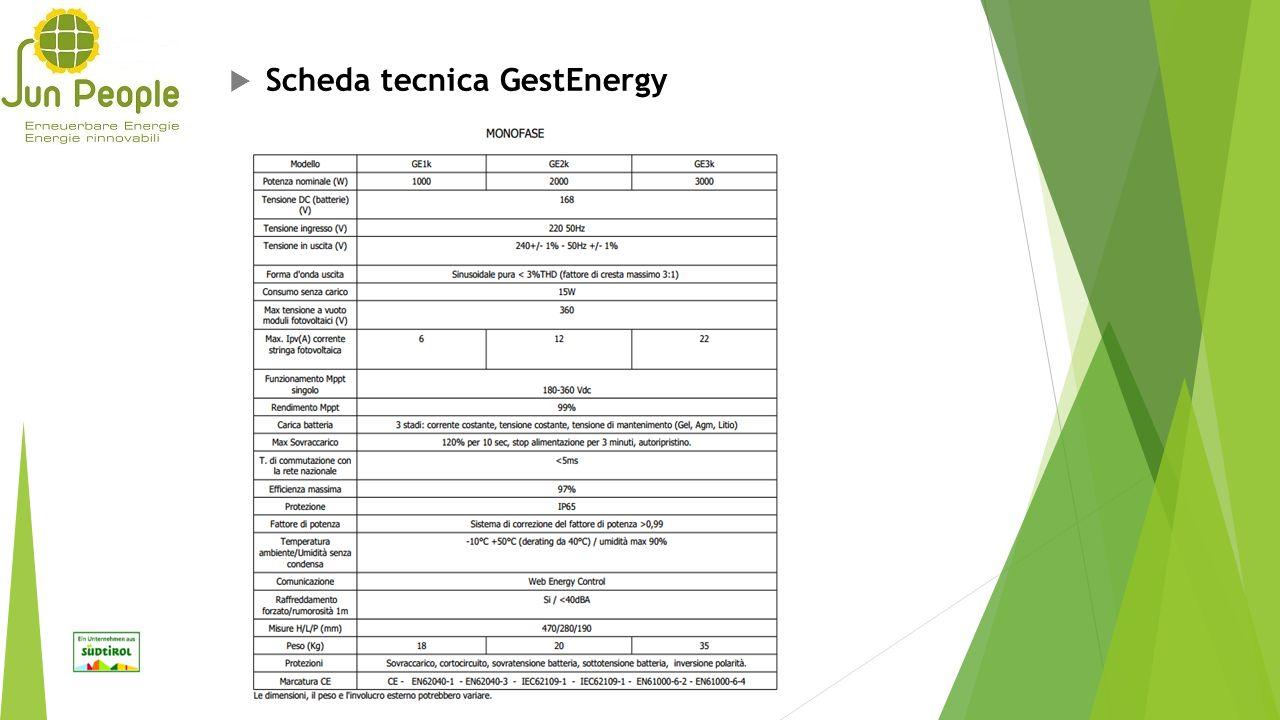 Scheda tecnica GestEnergy