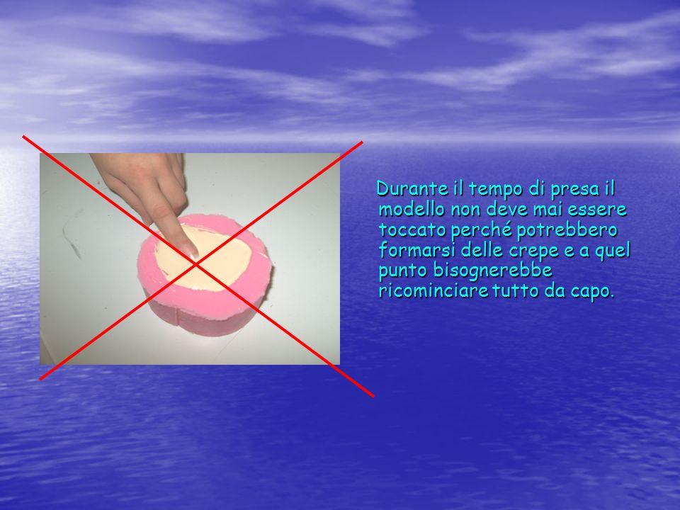 Durante il tempo di presa il modello non deve mai essere toccato perché potrebbero formarsi delle crepe e a quel punto bisognerebbe ricominciare tutto da capo.